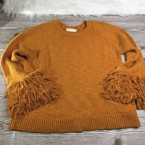 Michael Kors Fringe Burnt Orange Sweater Knit